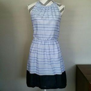 Old Navy Blue & White Striped Halter Dress
